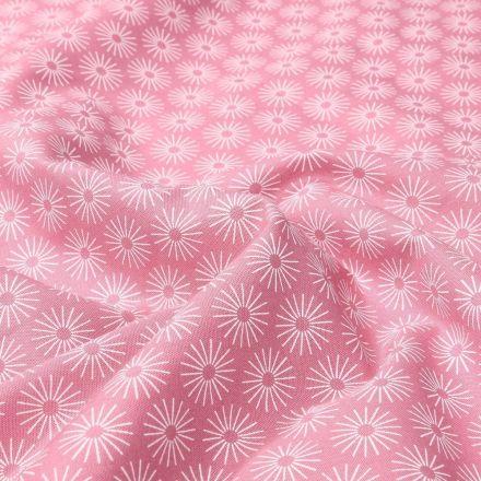 Tissu Coton imprimé Soleils stylisés sur fond Rose - Par 10 cm