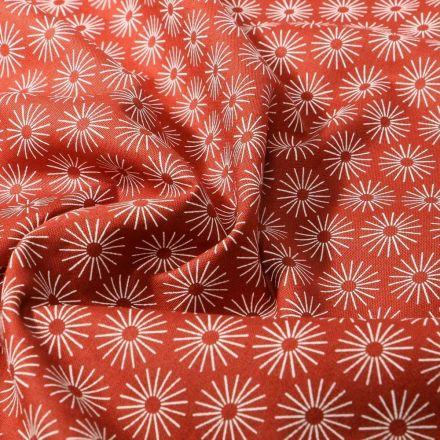 Tissu Coton imprimé Soleils stylisés sur fond Brique - Par 10 cm