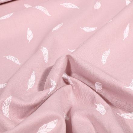 Tissu Coton imprimé Petites plumes sur fond Rose pâle - Par 10 cm