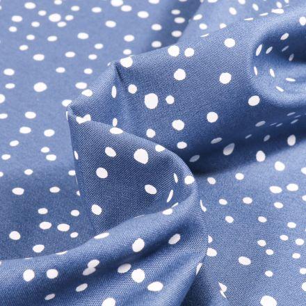 Tissu Coton imprimé Petits pois irréguliers sur fond Bleu denim