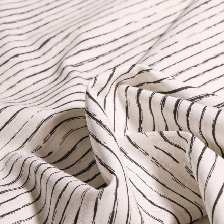 Tissu Coton imprimé Rayures irrégulières sur fond Ecru - Par 10 cm