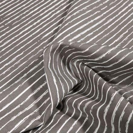 Tissu Coton imprimé Rayures irrégulières sur fond Gris - Par 10 cm