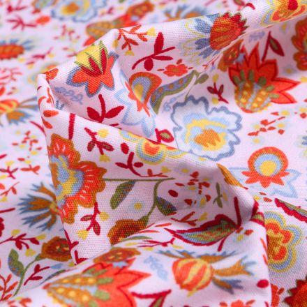 Tissu Coton imprimé Flower orange sur fond Blanc