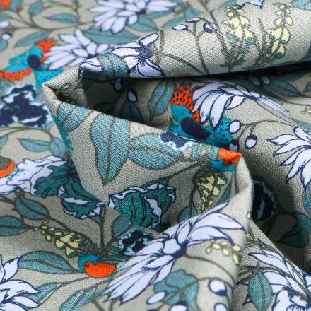 Tissu Coton imprimé Fleurs et Oiseaux sur fond Vert kaki clair