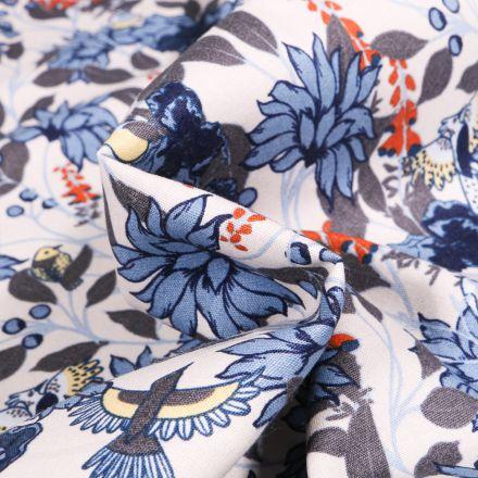 Tissu Coton imprimé Fleurs et Oiseaux sur fond Blanc
