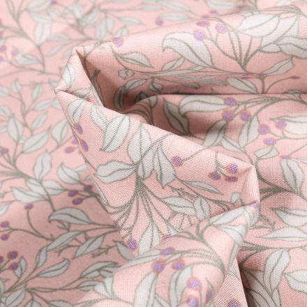 Tissu Coton imprimé Branches et feuilles sur fond Rose pâle