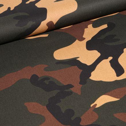 Tissu Coton imprimé Camouflages Kaki sur fond Noir