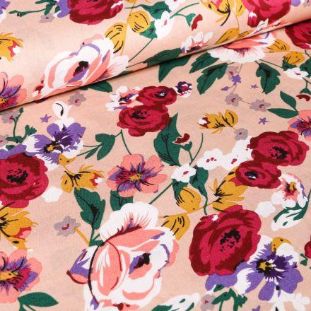 Tissu Coton imprimé Pivoines et fleurs sur fond Rose nude