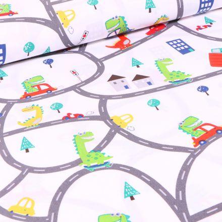 Tissu Coton imprimé Dinosaures en ville sur fond Blanc