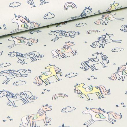 Tissu Coton imprimé LittleBird Licornes et nuages sur fond Vert menthe clair