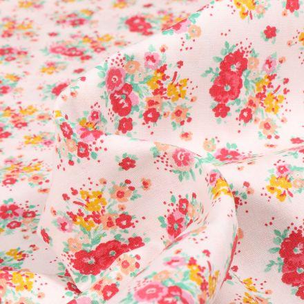 Tissu Popeline de coton Bouquet printanier rouge sur fond Blanc