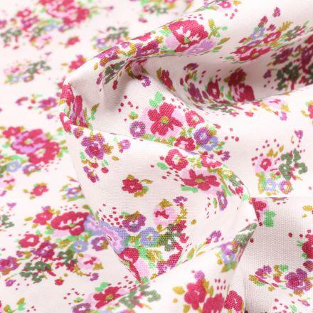 Tissu Popeline de coton Bouquet printanier violet sur fond Blanc