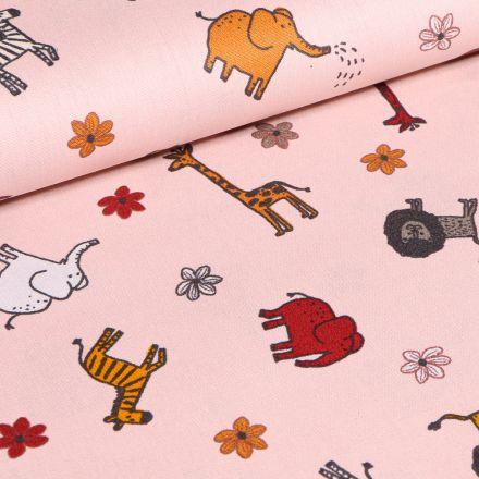 Tissu Coton imprimé LittleBird Animaux  safari sur fond Rose pâle