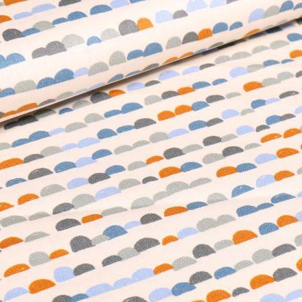 Tissu Coton imprimé Demi cercles colorés sur fond Ecru