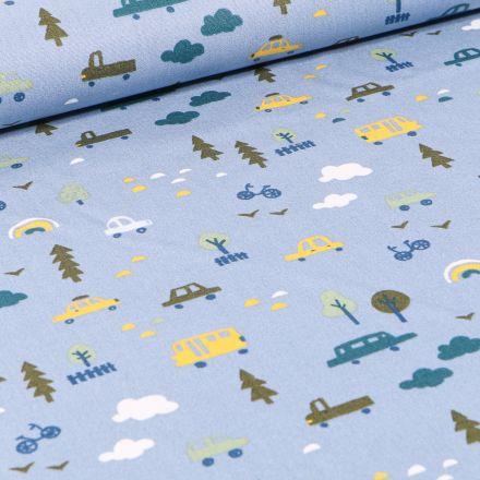Tissu Coton imprimé LittleBird Voitures et bus sur fond Bleu ciel