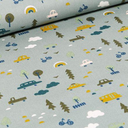 Tissu Coton imprimé LittleBird Voitures et bus sur fond Vert d'eau