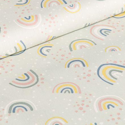 Tissu Coton imprimé Arc en ciel pastels sur fond Vert menthe clair
