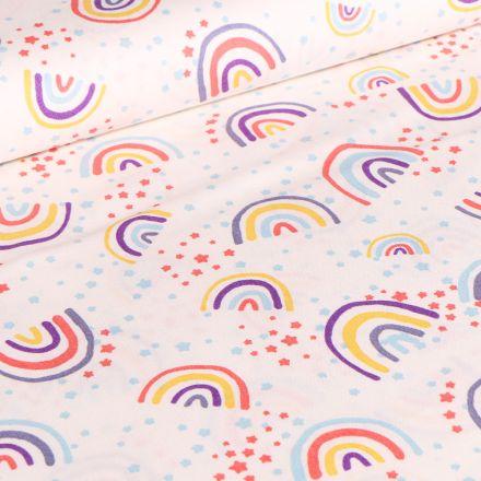 Tissu Coton imprimé Arc en ciel pastels sur fond Blanc