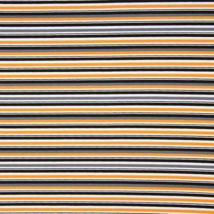 Tissu Jersey Coton Rayures Noires et oranges sur fond Blanc - Par 10 cm