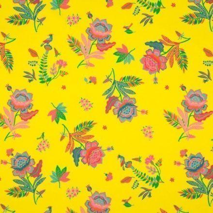 Tissu Jersey Coton imprimé Grande fleurs multicolores sur fond Jaune vif - Par 10 cm