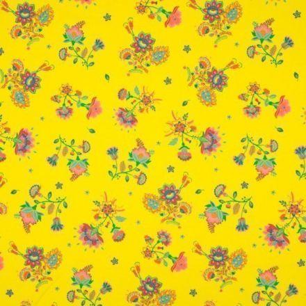 Tissu Jersey Coton imprimé Bouquet de fleurs sur fond Jaune vif - Par 10 cm