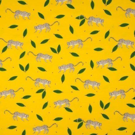 Tissu Jersey Coton imprimé Panthères sur fond Jaune vif - Par 10 cm
