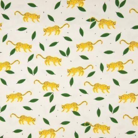 Tissu Jersey Coton imprimé Panthères sur fond Blanc - Par 10 cm