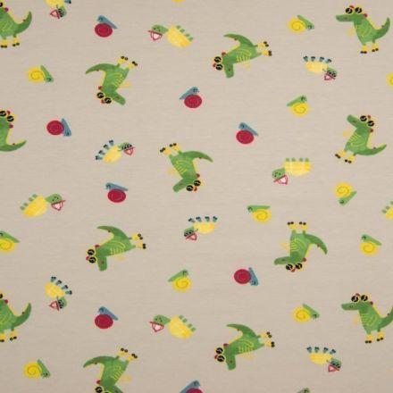 Tissu Jersey Coton imprimé Crocodiles tortues et escargots sur fond Beige - Par 10 cm