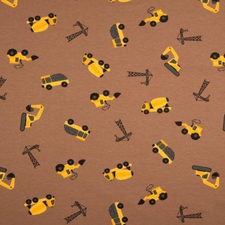 Tissu Jersey Coton imprimé Engins de chantier jaunes sur fond Marron - Par 10 cm