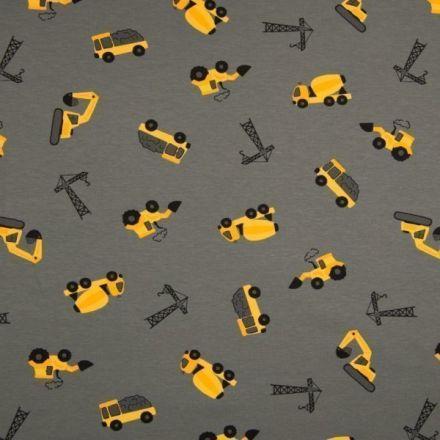 Tissu Jersey Coton imprimé Engins de chantier jaunes sur fond Gris - Par 10 cm