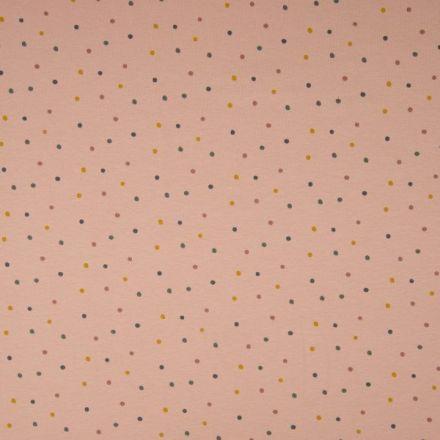 Tissu Jersey Coton Pois pastel sur fond Rose poudré - Par 10 cm