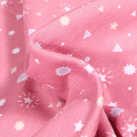 Tissu Jersey Coton Etoiles et triangles sur fond Rose
