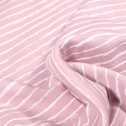 Tissu Jersey Coton Rayures destructurées sur fond Rose pâle
