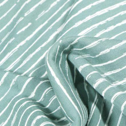 Tissu Jersey Coton Rayures destructurées sur fond Vert menthe clair