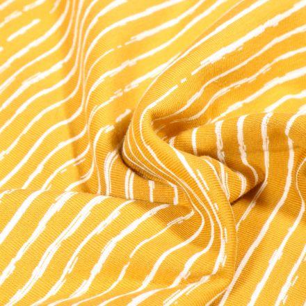 Tissu Jersey Coton Rayures destructurées sur fond Jaune