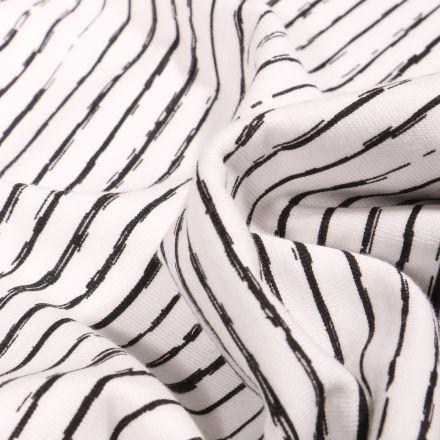 Tissu Jersey Coton Rayures destructurées sur fond Blanc