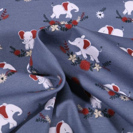 Tissu Jersey Coton Eléphants et fleurs sur fond Bleu denim - Par 10 cm