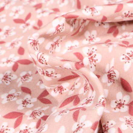 Tissu Jersey Coton Fleurs de cerisier sur fond Rose nude