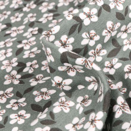 Tissu Jersey Coton Fleurs de cerisier sur fond Vert d'eau