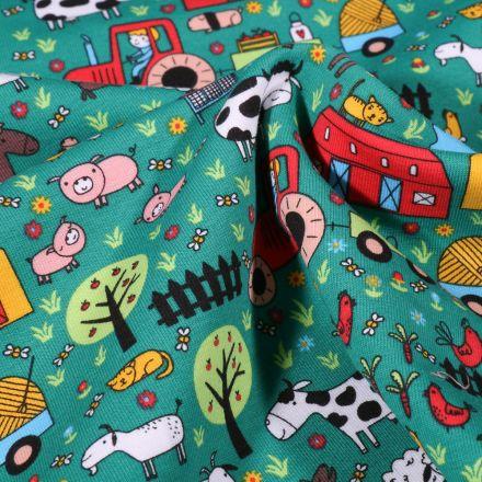 Tissu Jersey Coton Animaux à la ferme sur fond Vert