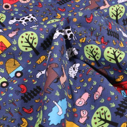 Tissu Jersey Coton Animaux à la ferme sur fond Bleu