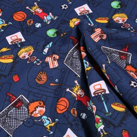 Tissu Jersey Coton Petits sportifs sur fond Bleu marine