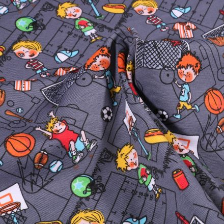 Tissu Jersey Coton Petits sportifs sur fond Gris