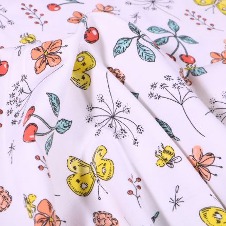 Tissu Jersey Coton Papillons cerises et fleurs sur fond Blanc