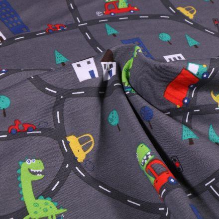 Tissu Jersey Coton Dinosaures en ville sur fond Gris anthracite