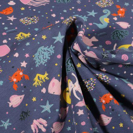 Tissu Jersey Coton Sirènes sous l'océan sur fond Bleu gris
