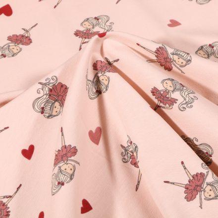 Tissu Jersey Coton Ballerines et petits coeurs sur fond Rose pâle