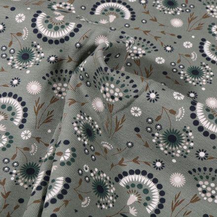 Tissu Jersey Coton Pissenlit stylisé sur fond Vert kaki clair