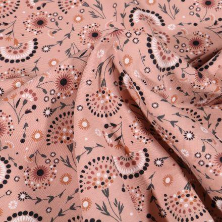 Tissu Jersey Coton Pissenlit stylisé sur fond Rose saumon