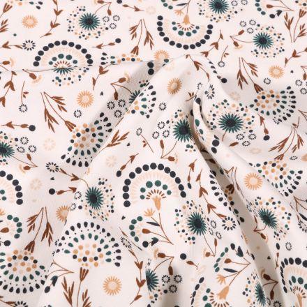 Tissu Jersey Coton Pissenlit stylisé sur fond Blanc cassé